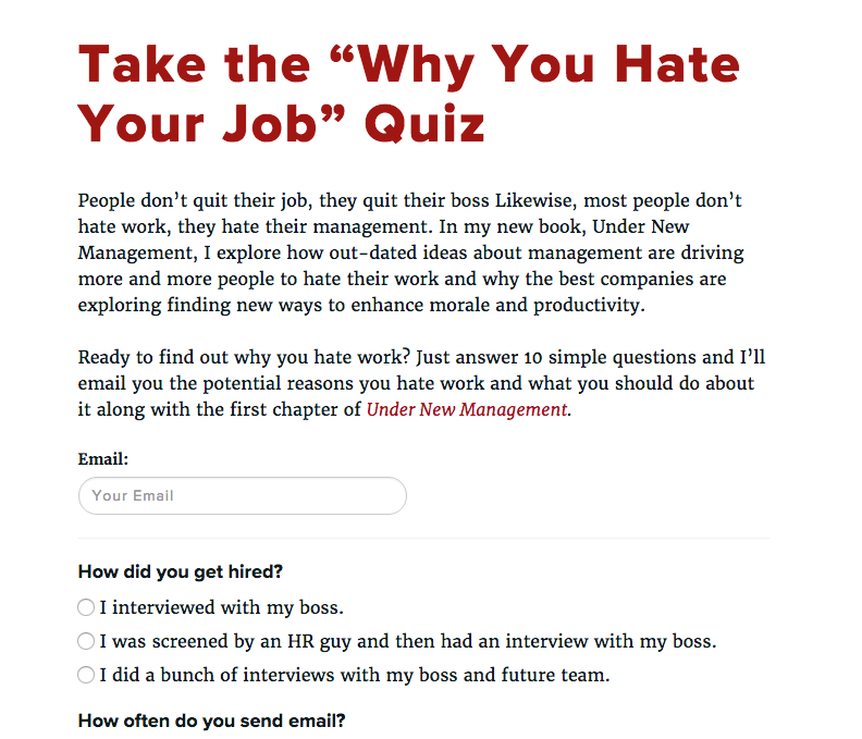 Why You Hate Work Quiz – David Burkus